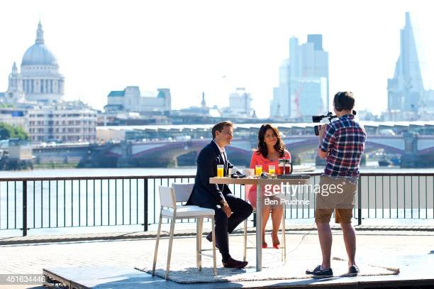 Ben Shephard and Susanna Reid sighted filming on the Southbank on July 3 2014 in London England