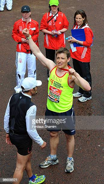 Ben Shephard completes the Virgin London Marathon on April 25 2010 in London England