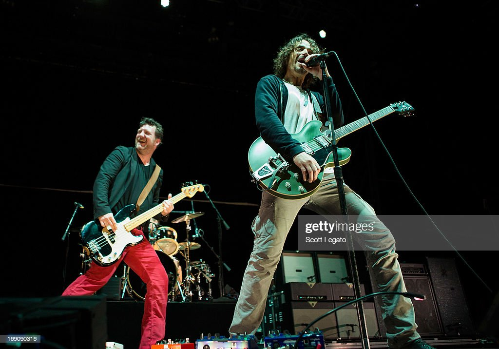 Ben Shepherd (L) and Chris Cornell of Soundgarden performs during 2013 Rock On The Range at Columbus Crew Stadium on May 19, 2013 in Columbus, Ohio.