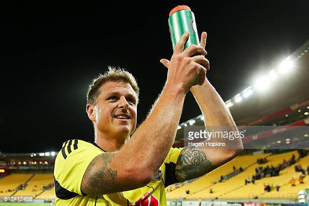 Ben Sigmund of the Phoenix applauds the crowd after the final whistle during the round 21 ALeague match between the Wellington Phoenix and Melbourne...