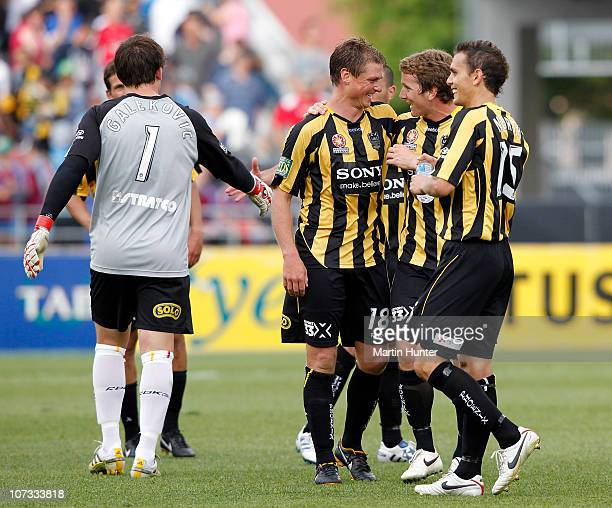 Ben Sigmund of the Phoenix celebrates with teammates after the round 17 ALeague match between the Wellington Phoenix and Adelaide United at AMI...