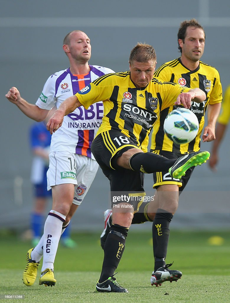 Ben Sigmund of the Phoenix clears the ball during the round 19 A-League match between the Wellington Phoenix and the Perth Glory at Eden Park on February 2, 2013 in Auckland, New Zealand.