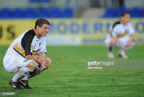 Ben Sigmund of the Phoenix looks dejected after the round 18 ALeague match between Gold Coast United and the Wellington Phoenix at Skilled Park on...