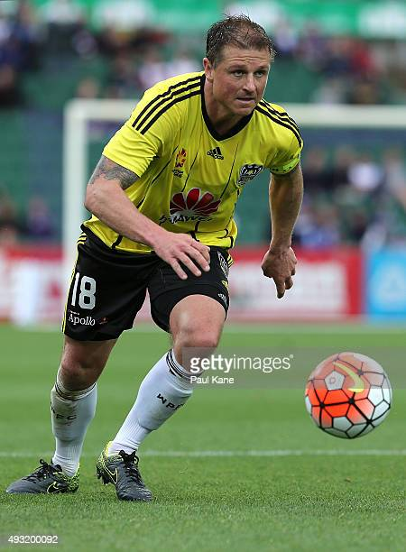 Ben Sigmund of the Phoenix looks to pass the ball during the round two ALeague match between the Perth Glory and Wellington Phoenix at nib Stadium on...