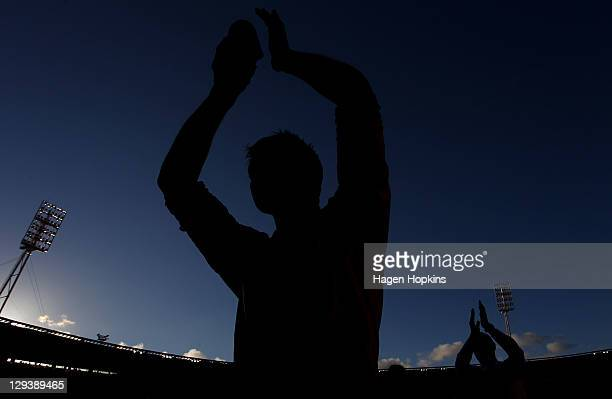 Ben Sigmund of the Phoenix salutes the crowd during the round two ALeague match between Wellington Phoenix and Newcastle Jets at Westpac Stadium on...
