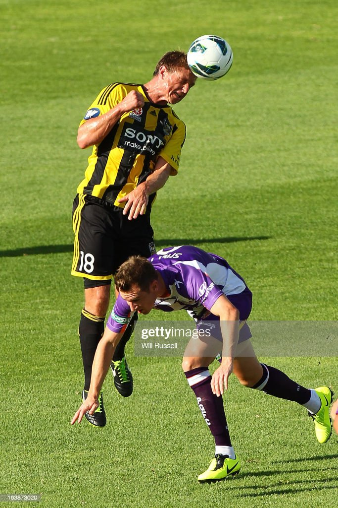 Ben Sigmund of the Wellington Phoenix heads the ball during the round 25 A-League match between the Perth Glory and the Wellington Phoenix at nib Stadium on March 17, 2013 in Perth, Australia.