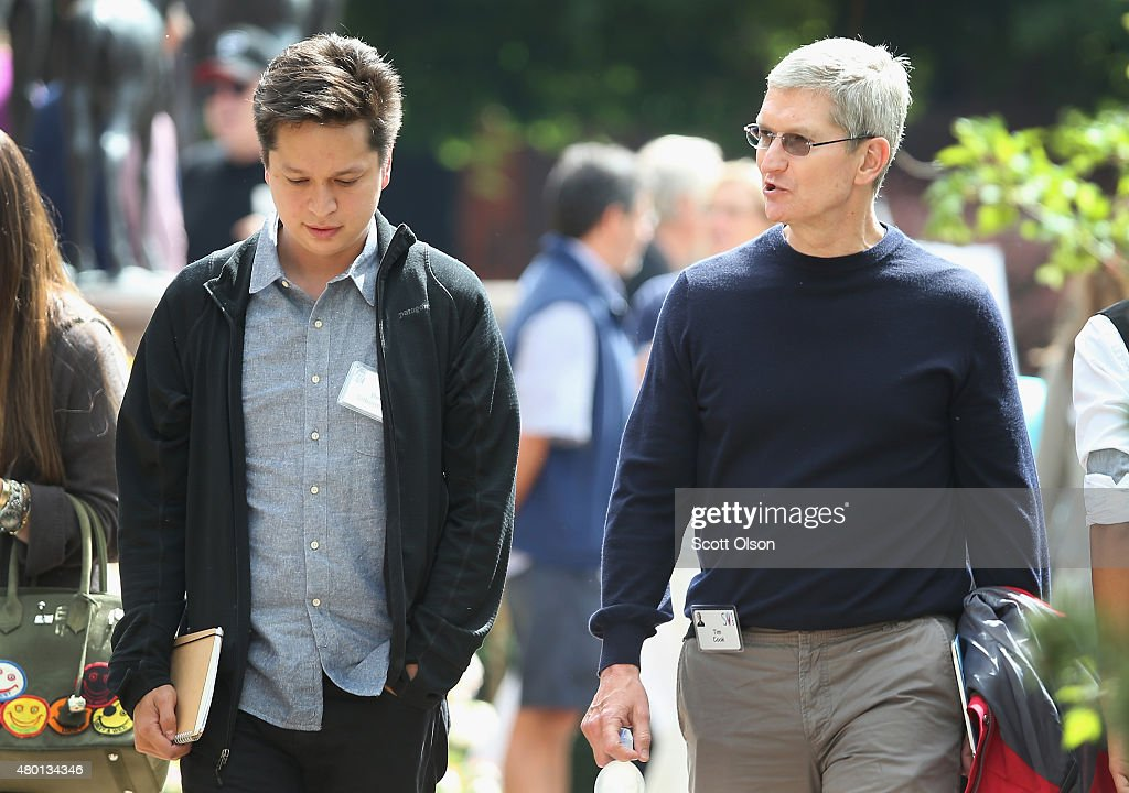 Ben Silbermann cofounder and is CEO of Pinterest chats with Tim Cook chief executive officer of Apple Inc at the Allen Company Sun Valley Conference...