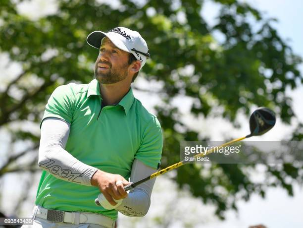 Ben Silverman hits a tee shot on the 18th hole during the first round of the Webcom Tour RustOleum Championship at Ivanhoe Club on June 8 2017 in...