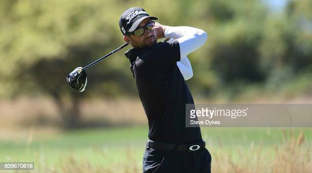 Ben Silverman hits his drive on the third hole during round three of the WinCo Foods Portland Open at Pumpkin Ridge Golf Club Witch Hollow on August...