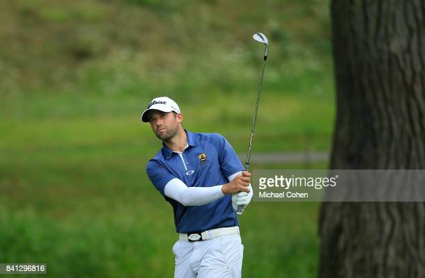 Ben Silverman of Canada hits his second shot on the 17th hole during the first round of the Nationwide Children's Hospital Championship held at The...