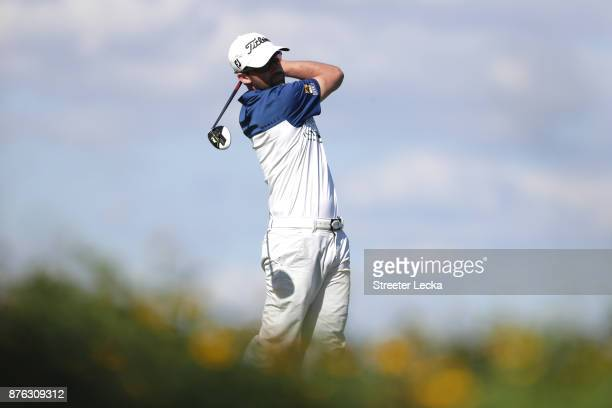 Ben Silverman of the United States plays his shot from the eighth tee during the third round of The RSM Classic at Sea Island Golf Club Seaside...