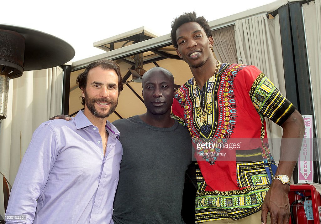 Ben Silverman, Ozwald Boateng, and Hasheem Thabeet attend Flaunt Magazine and Samsung Galaxy celebrate The Plutocracy Issue release hosted by cover Russell Westbrook at Caulfield's Bar and Dining Room at Thompson Hotel on March 2, 2013 in Beverly Hills, California.
