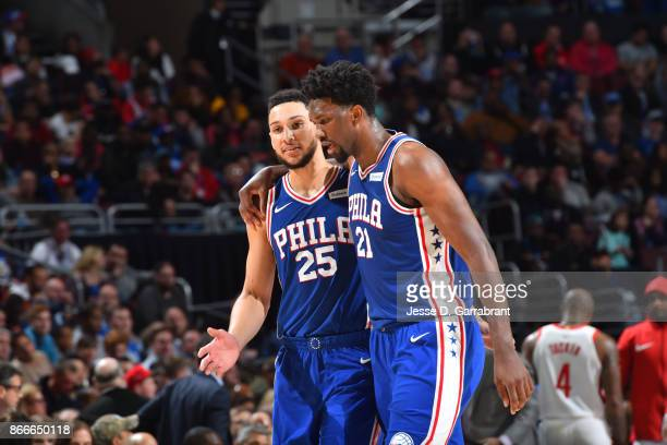 Ben Simmons and Joel Embiid of the Philadelphia 76ers during the game against the Houston Rockets on October 25 2017 at Wells Fargo Center in...