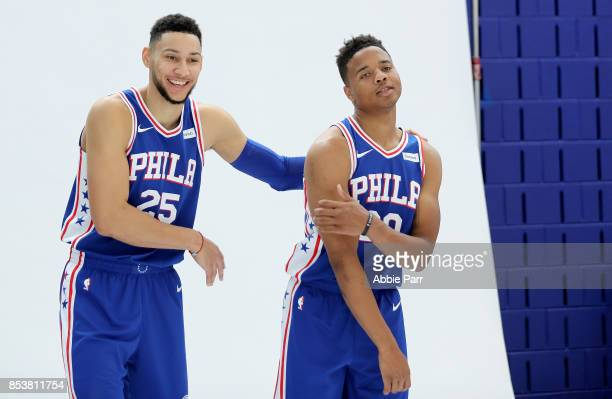 Ben Simmons and Markelle Fultz of the Philadelphia 76ers joke around during a photo shoot together during Philadelphia 76ers Media Day on September...