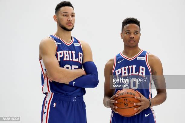 Ben Simmons and Markelle Fultz of the Philadelphia 76ers pose for a photo together during Philadelphia 76ers Media Day on September 25 2017 at the...