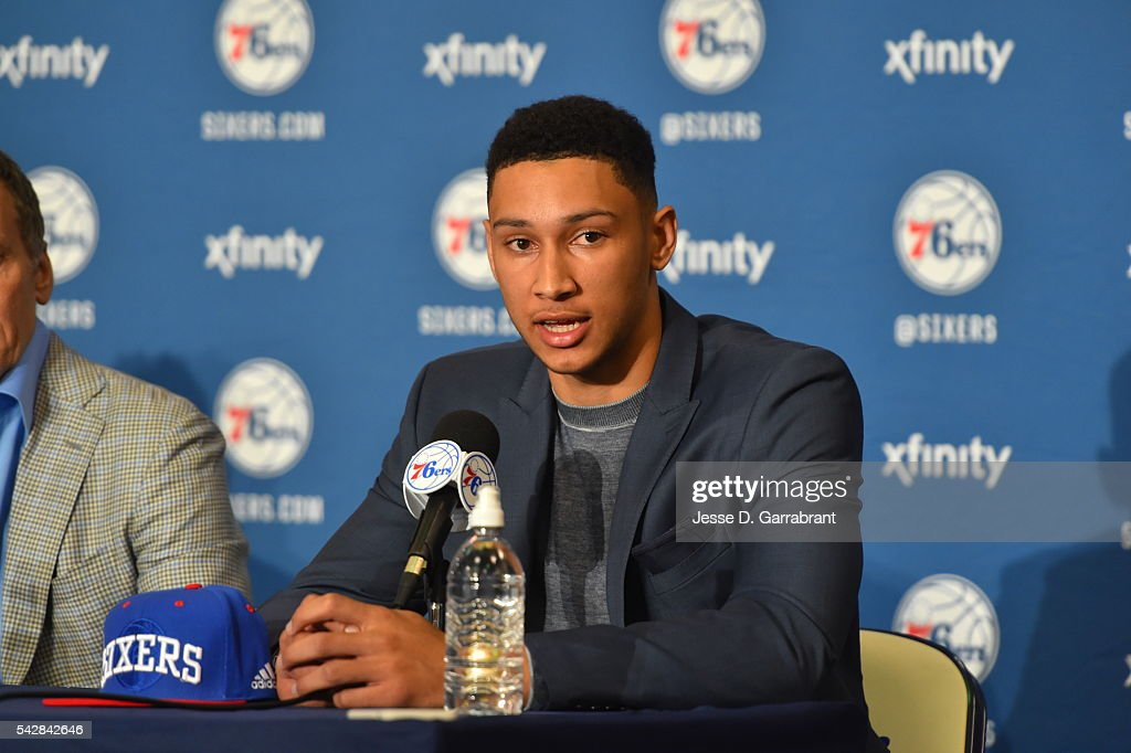 <a gi-track='captionPersonalityLinkClicked' href=/galleries/search?phrase=Ben+Simmons+-+Basketball+Player&family=editorial&specificpeople=13900541 ng-click='$event.stopPropagation()'>Ben Simmons</a> attends a press conference after being selected by the Philadelphia 76ers in the 2016 NBA Draft on June 24, 2016 in Philadelphia, PA.