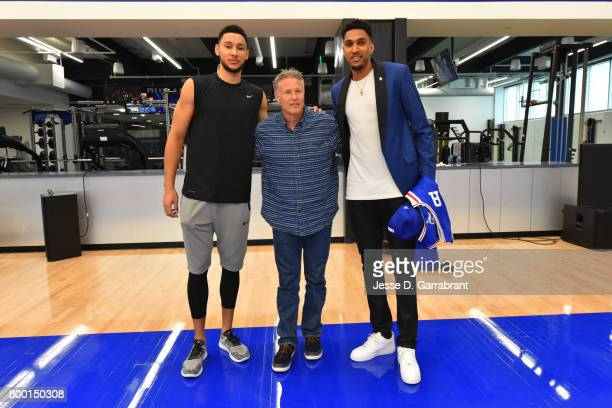 Ben Simmons Brett Brown and Jonah Bolden of the Philadelphia 76ers pose for a photo at the Sixers Training Complex on June 23 2017 in Camden New...