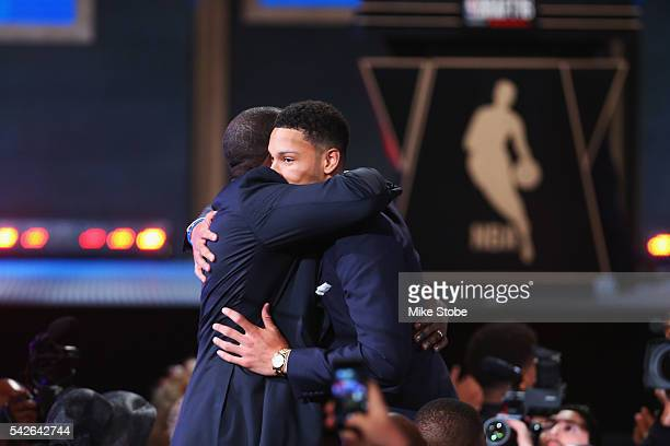 Ben Simmons hugs family after being drafted first overall by the Philadelphia 76ers in the first round of the 2016 NBA Draft at the Barclays Center...
