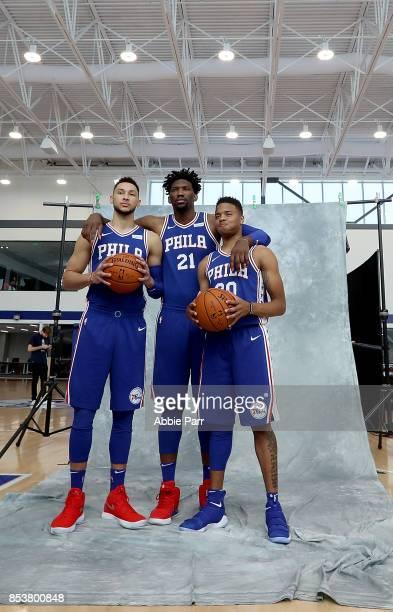 Ben Simmons Joel Embiid and Markelle Fultz of the Philadelphia 76ers pose for a portrait during the Philadelphia 76ers Media Day on September 25 2017...