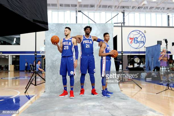 Ben Simmons Joel Embiid and Markelle Fultz of the Philadelphia 76ers pose for a photo during the Philadelphia 76ers Media Day on September 25 2017 at...