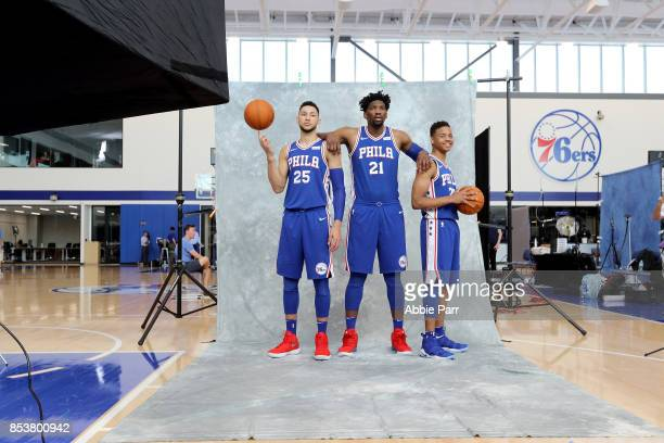 Ben Simmons Joel Embiid and Markelle Fultz of the Philadelphia 76ers pose for the camera during the Philadelphia 76ers Media Day on September 25 2017...
