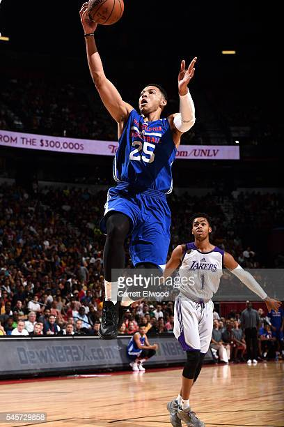 Ben Simmons of Philadelphia 76ers goes for the layup during the game against the Los Angeles Lakers during the 2016 NBA Las Vegas Summer League on...