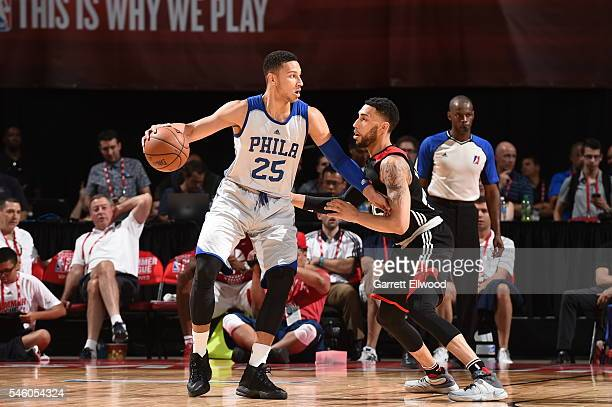 Ben Simmons of Philadelphia 76ers handles the ball against the Chicago Bulls during 2016 Summer League on July 10 2016 at the Thomas Mack Center in...