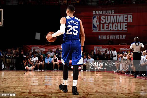 Ben Simmons of Philadelphia 76ers handles the ball during the game against the Los Angeles Lakers during the 2016 NBA Las Vegas Summer League on July...