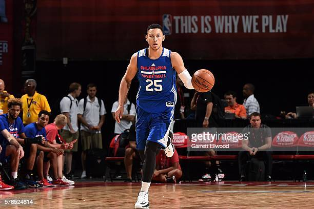 Ben Simmons of Philadelphia 76ers handles the ball during the game against the Miami Heat during the 2016 Las Vegas Summer League on July 15 2016 at...