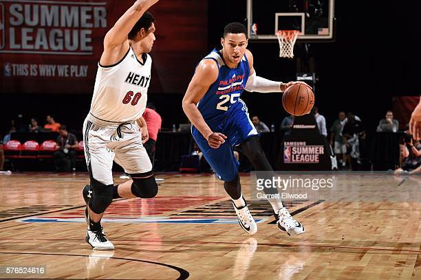 Ben Simmons of Philadelphia 76ers shoots the ball during the game against the Miami Heat during the 2016 Las Vegas Summer League on July 15 2016 at...