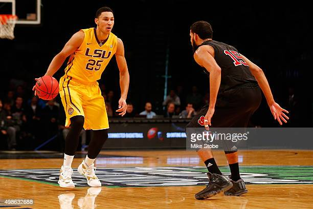 Ben Simmons of the LSU Tigers carries the ball against North Carolina State Wolfpack at Barclays Center on November 24 2015 in Brooklyn borough of...