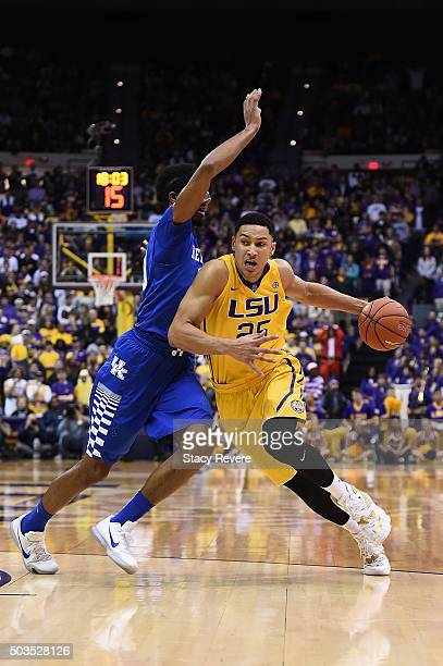 Ben Simmons of the LSU Tigers drives to the basket against Marcus Lee of the Kentucky Wildcats during the second half of a game at the Pete Maravich...