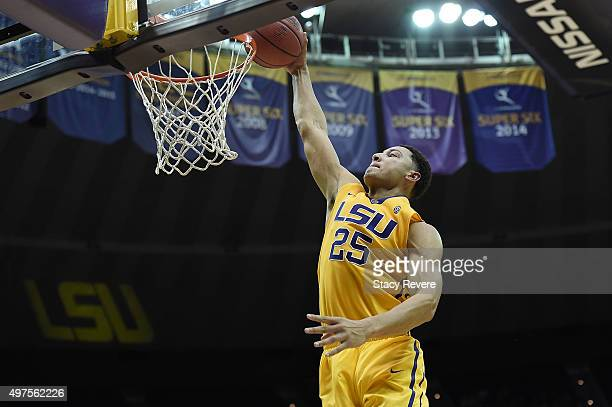 Ben Simmons of the LSU Tigers dunks during a game against the Kennesaw State Owls at the Pete Maravich Assembly Center on November 16 2015 in Baton...