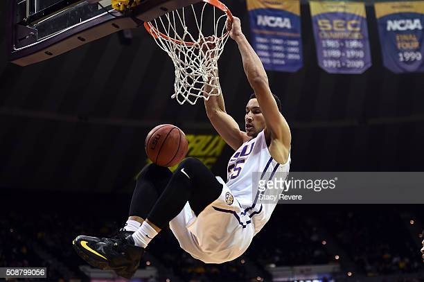 Ben Simmons of the LSU Tigers dunks during the second half of a game against the Mississippi State Bulldogs at the Pete Maravich Assembly Center on...