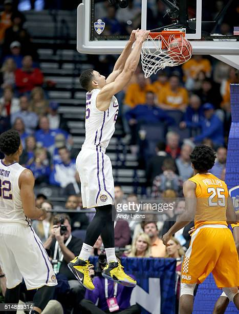 Ben Simmons of the LSU Tigers dunks the ball during the game against the Tennessee Volunteers during the quarterfinals of the SEC Basketball...