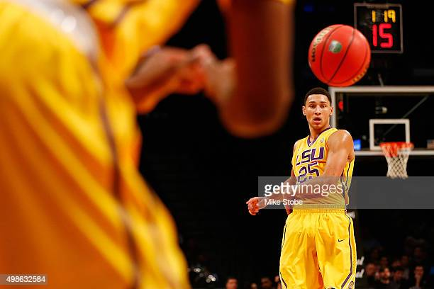 Ben Simmons of the LSU Tigers passes the ball against North Carolina State Wolfpack at Barclays Center on November 24 2015 in Brooklyn borough of New...