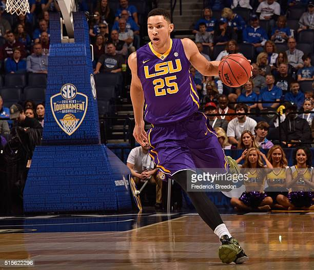 Ben Simmons of the LSU Tigers plays against the Texas AM Aggies in an SEC Basketball Tournament Semifinals game at Bridgestone Arena on March 12 2016...