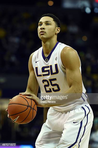 Ben Simmons of the LSU Tigers shoots a free throw during the first half of a game against the McNeese State Cowboys at the Pete Maravich Assembly...
