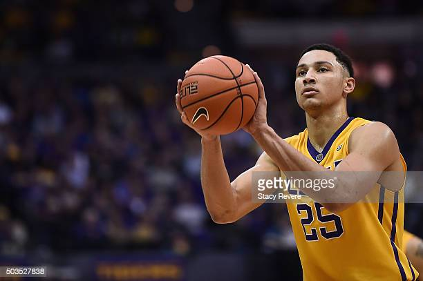 Ben Simmons of the LSU Tigers shoots a free throw during the second half of a game against the Kentucky Wildcats at the Pete Maravich Assembly Center...