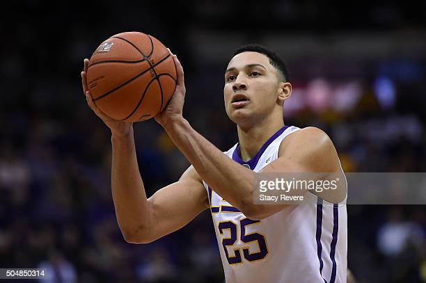 Ben Simmons of the LSU Tigers shoots a free throw during the second half of a game against the Mississippi Rebels at the Pete Maravich Assembly...
