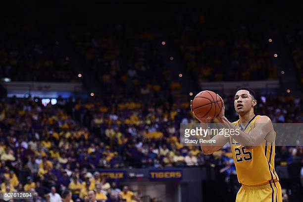 Ben Simmons of the LSU Tigers shoots a free throw during the second half of a game against the Oklahoma Sooners at the Pete Maravich Assembly Center...