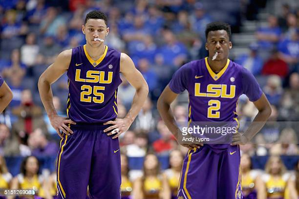 Ben Simmons of the LSU Tigers stands on the court after being charged with a technical foul in the game against the Texas AM Aggies during the...