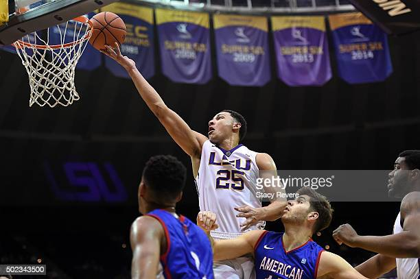 Ben Simmons of the LSU Tigers takes a shot during a game against the American University Eagles at the Pete Maravich Assembly Center on December 22...