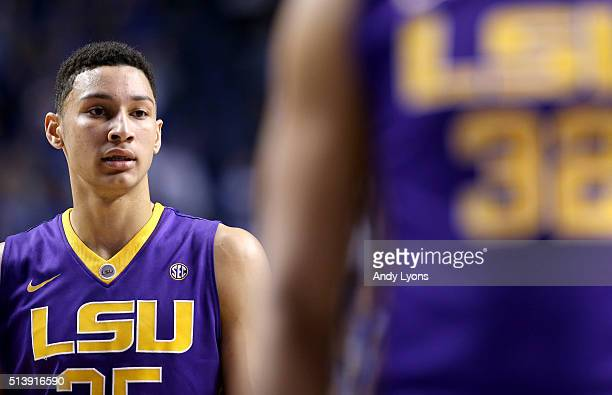 Ben Simmons of the LSU Tigers watches the action in the game against the Kentucky Wildcats at Rupp Arena on March 5 2016 in Lexington Kentucky