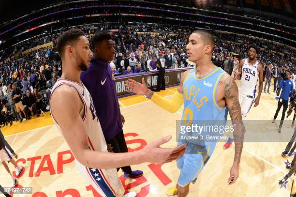Ben Simmons of the Philadelphia 76ers and Kyle Kuzma of the Los Angeles Lakers after the game on November 15 2017 at STAPLES Center in Los Angeles...
