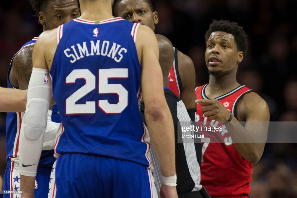 Ben Simmons #25 of the Philadelphia 76ers argues with Kyle Lowry #7 of the Toronto Raptors in the final moments of the game at the Wells Fargo Center on January 15, 2018 in Philadelphia, Pennsylvania. The 76ers defeated the Raptors 117-111.