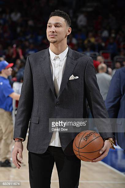Ben Simmons of the Philadelphia 76ers attends the game against the Houston Rockets at Wells Fargo Center on January 27 2017 in Philadelphia...