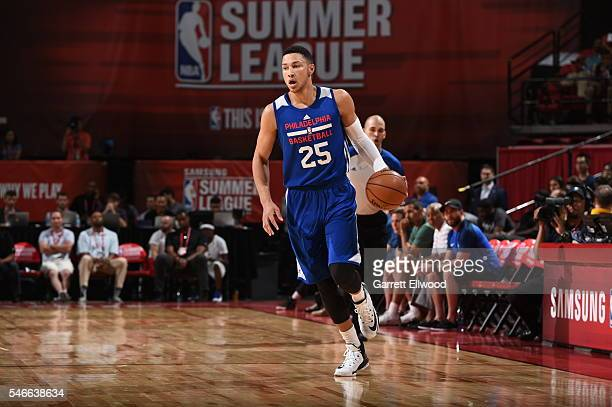 Ben Simmons of the Philadelphia 76ers brings the ball up court against the Golden State Warriors during the 2016 NBA Las Vegas Summer League on July...