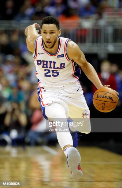 Ben Simmons of the Philadelphia 76ers controls the ball during the game against the Miami Heat at Sprint Center on October 13 2017 in Kansas City...