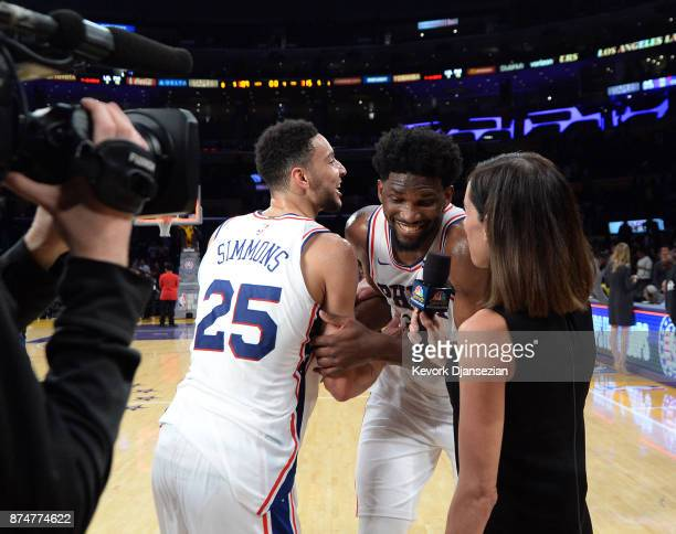 Ben Simmons of the Philadelphia 76ers disrupts Joel Embiid's game television interview to celebrate Embiid's career high 46point against Los Angeles...